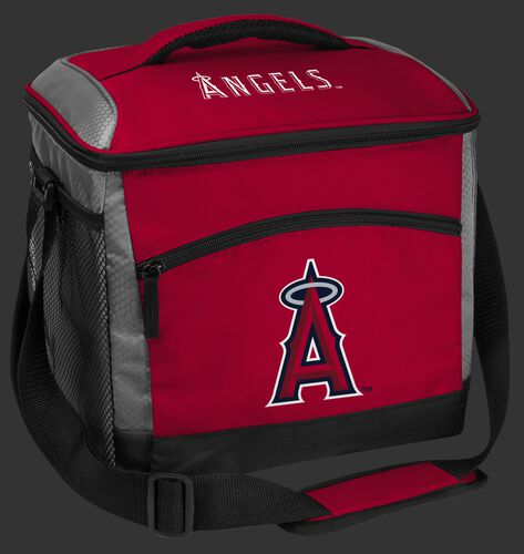 A red Los Angeles Angels 24 can soft sided cooler with screen printed team logos - SKU: 10200001111