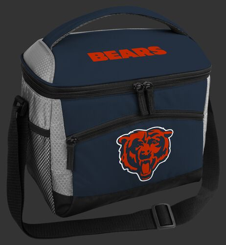 A navy Chicago Bears 12 can soft sided cooler with a team logo on the front - SKU: 10111062111