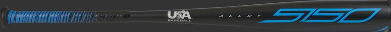 A black 2021 5150 -5 USA bat with blue accents - SKU: US155
