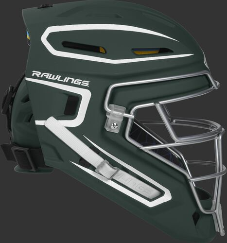 Right side of a dark green CHMACH Mach senior size catcher's helmet