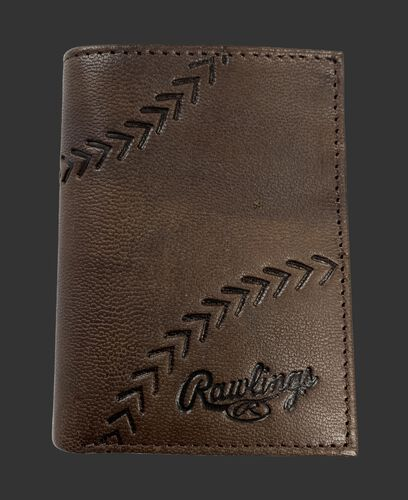A brown Debossed stitch tri-fold wallet with baseball stitches and the Rawlings logo in the bottom right - SKU: RPW008-200