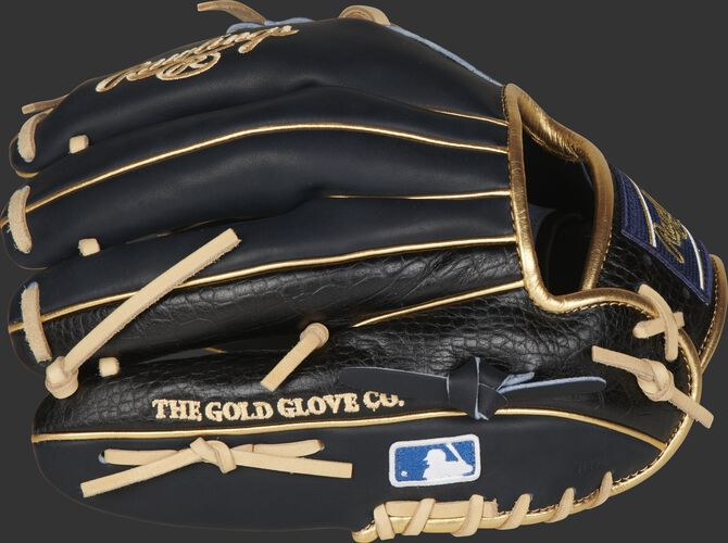 A navy HOH exlcusive glove with black croc-embossed leather on the pinky/ring finger - SKU: PRONP4-2NCC