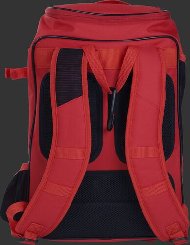 Back shoulder straps of a scarlet R701 baseball gear backpack with black back padding