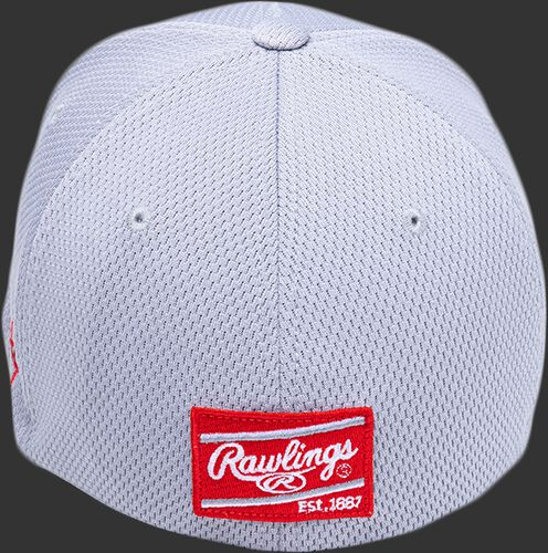 Back of a gray Black Clover 'The Shift' hat with a red Rawlings patch - SKU: BCR1TS0071