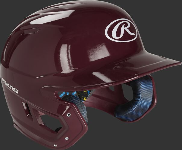 Front right of a MCH01A Mach batting helmet with a maroon shell