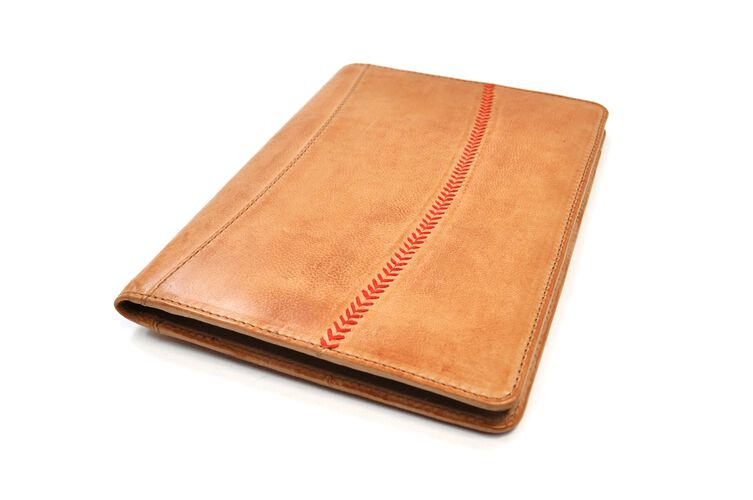 Front of Rawlings Tan Baseball Stitch Tablet Case With Red Baseball Stitch SKU #MW495-204