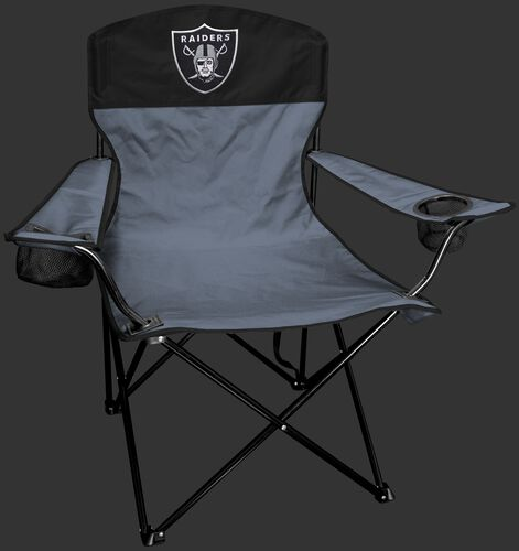 Front of Rawlings Silver and Black NFL Oakland Raiders Lineman Chair With Team Logo SKU #31021072111