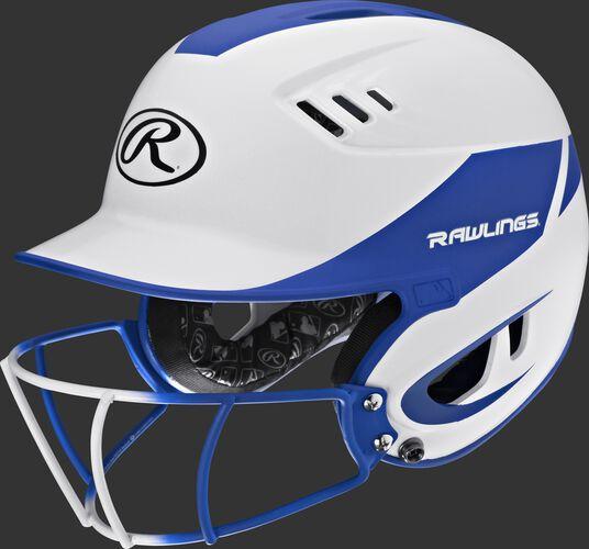 A white/royal R16H2FGS Velo senior batting helmet with a white/royal facemask