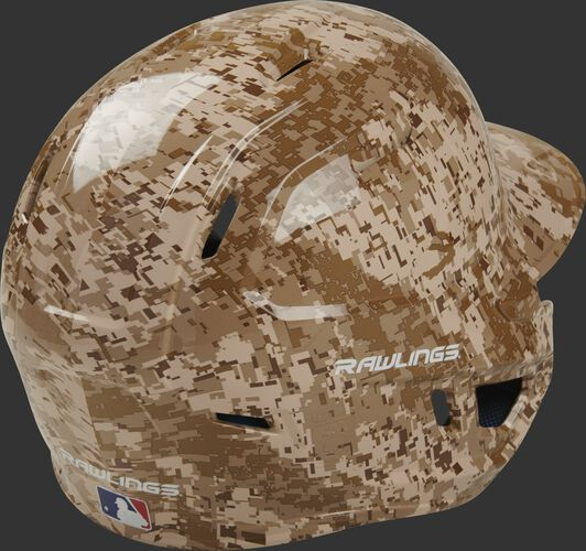 Back right of a MACHEXTR-DCMO Rawlings Mach EXT batters helmet with a digi camo hydro dip design