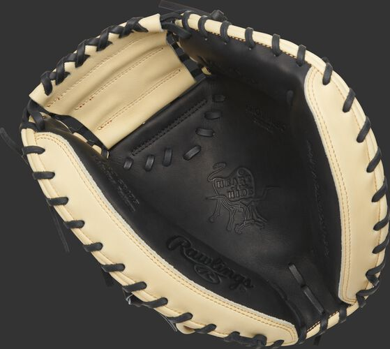 Black palm of a 2020 HOH catcher's mitt with a camel web and black laces - SKU: PROYM4BC
