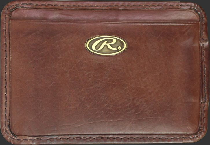 A brown Bases Loaded magnetic money clip with a gold Oval R logo emblem - SKU: RW80002-200