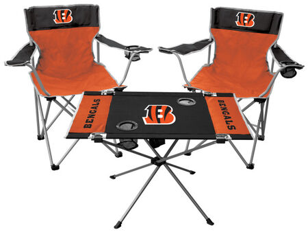 Front of Rawlings Orange and Black NFL Cincinnati Bengals 3-Piece Tailgate Kit With Two Kickoff Chairs, An Endzone Table, And A Transport Bag With Team Logo SKU #01041063511