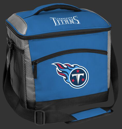 A blue Tennessee Titans 24 can soft sided cooler with screen printed team logos - SKU: 10211069111