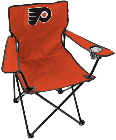 Front of Rawlings Orange and Black NHL Philadelphia Flyers Gameday Elite Quad Chair With Team Logo SKU #00694102111