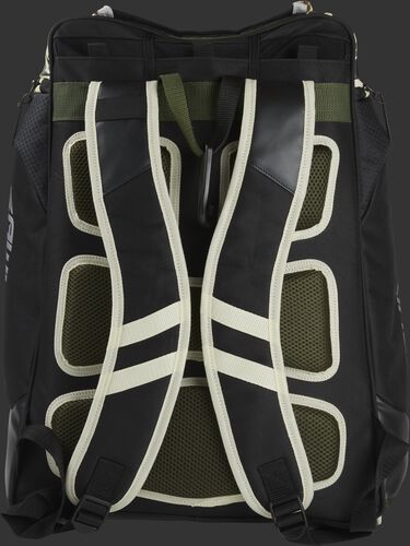 Back of a camo Rawlings Legion backpack with black shoulder straps - SKU: LEGION-CAMO