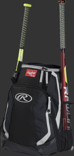 Left side of a black R500 baseball backpack with a red bat in the side sleeve