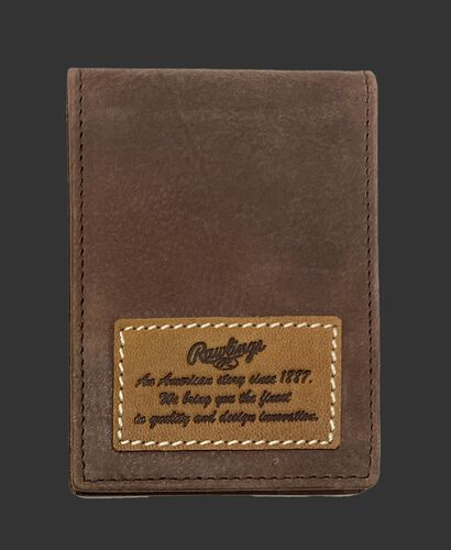 A brown American Story front pocket wallet with a leather patch telling the Rawlings American story - SKU: RPW003-200
