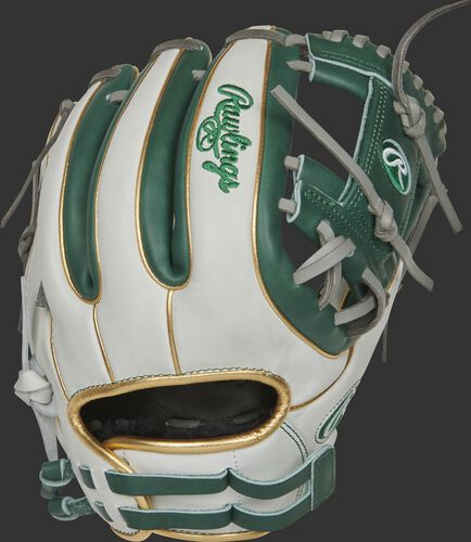 RLA715SB-2DG 11.75-inch Liberty Advanced I-web glove with a white back, gold binding/welting and adjustable pull strap
