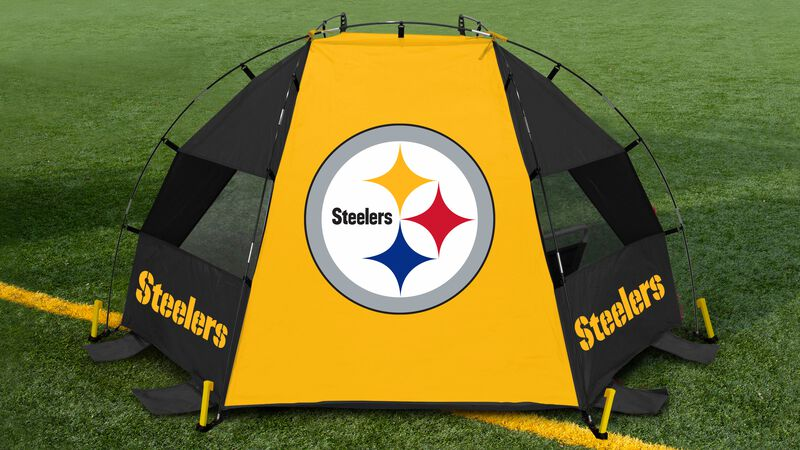 Back of a Pittsburgh Steelers sideline sun shelter on a field with a Steelers logo in the middle - SKU: 00961082111