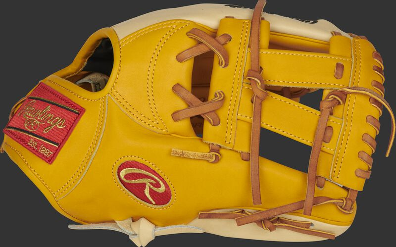 Thumb of a gold tan/camel PRONP5-7GT Heart of the Hide 11.75-Inch infield glove with a gold tan V-Web