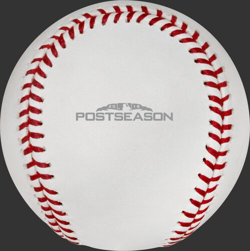 The 2018 MLB Postseason logo stamped on the ALCS18CHMP ALCS Champions baseball