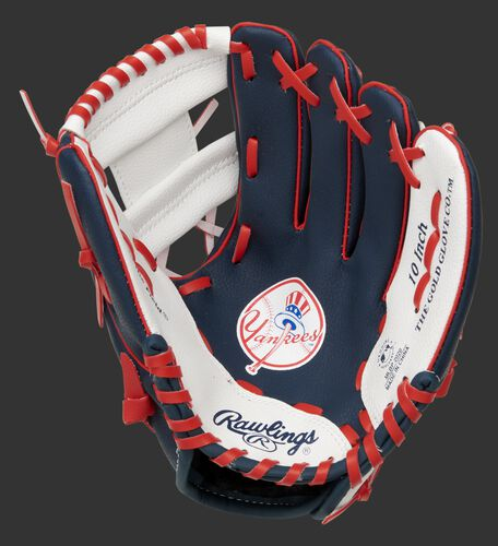 A navy, white & red Rawlings New York Yankees youth glove with the Yankees logo stamped in the palm - SKU: 22000030111