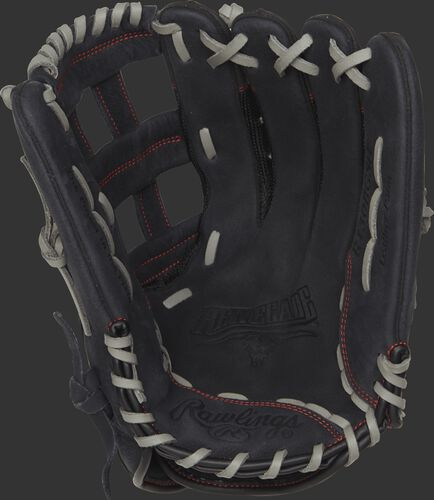 R130BGSH Rawlings 13-inch recreational baseball/softball Renegade glove with a black palm and grey laces