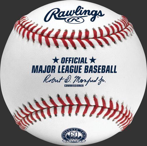 A MLB 2020 Minnesota Twins 60th Anniversary baseball with the Official Major League Baseball stamp - SKU: ROMLBMT60