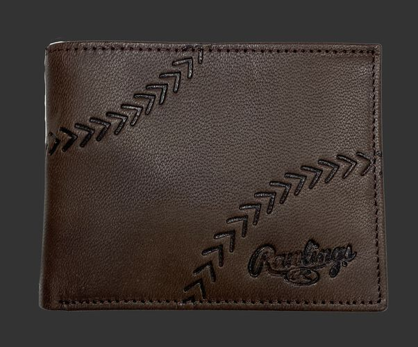 A brown debossed stitch bi-fold wallet with a Rawlings logo in the bottom right corner - SKU: RPW007-200