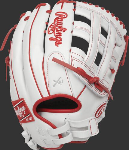 RLA130-6W 13-inch Liberty Advanced outfield sotfball glove with a white back, scarlet binding/welting and pull-strap design