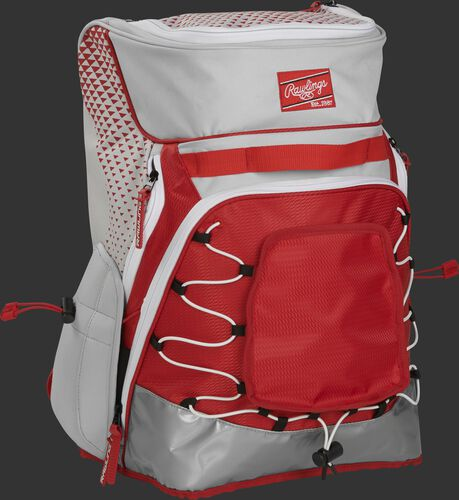 Front right of a white/scarlet R800 softball backpack