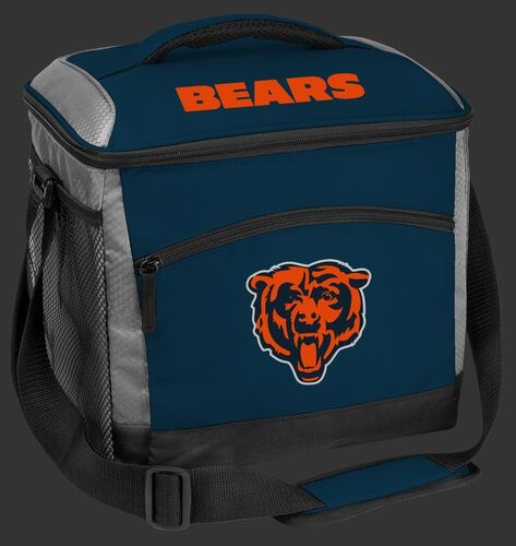 A navy Chicago Bears 24 can soft sided cooler with screen printed team logos - SKU: 10211062111