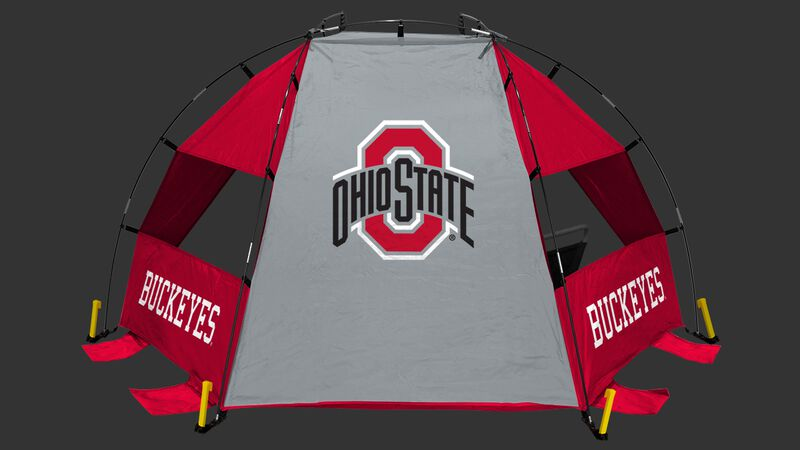 Back of an Ohio State Buckeyes sideline sun shelter with the Buckeyes logo in the middle - SKU: 00973042111