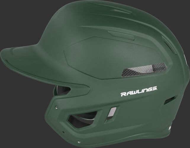 Left side of a CAR07A MACH Carbon high performance batting helmet with a carbon fiber plate insert