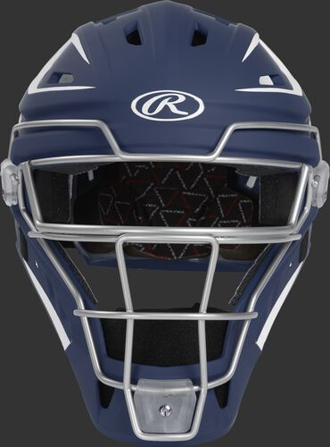 Front of a navy CHV27J Velo 2.0 hockey-style catcher's helmet