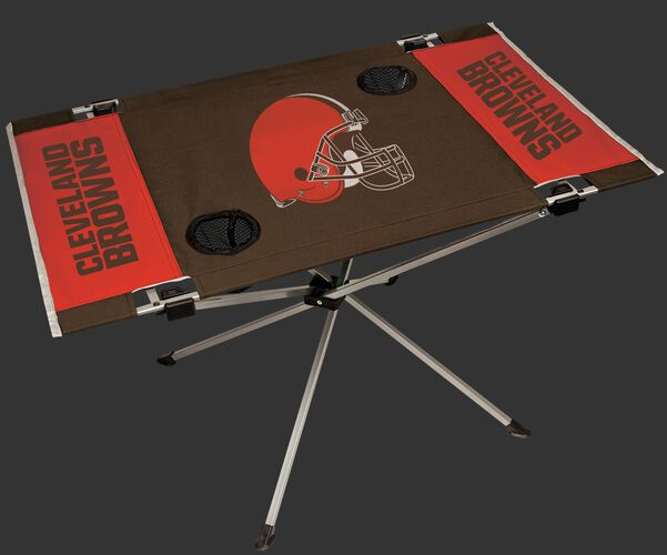 Rawlings Brown and Orange NFL Cleveland Browns Endzone Table With Two Cup Holders, Team Logo, and Team Name SKU #03391064111