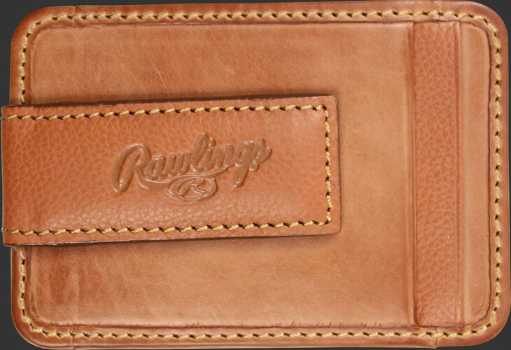 The money clip on a tan Rawlings Bases Loaded magnetic money clip - SKU: RW80002-204