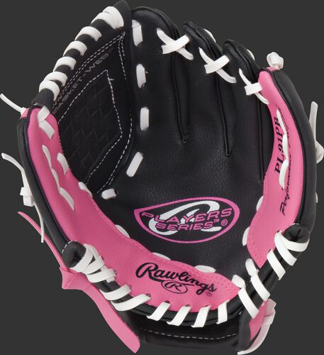 Black palm of a Rawlings Players Series t-ball glove with a pink thumb and pinkie and white laces - SKU: ACAPL91PB