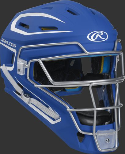 Front right of a royal CHMACH Rawlings Mach catcher's helmet