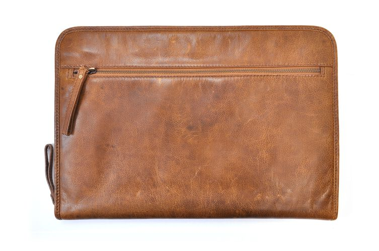 Back of a tan Rawlings rugged portfolio with a zippered compartment - SKU: V614-202