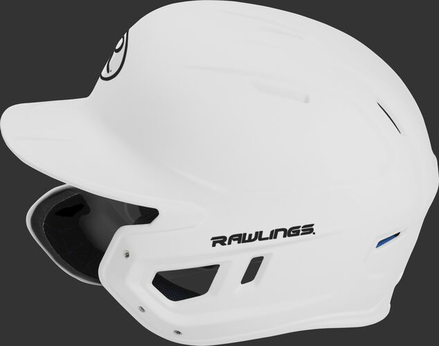 Left side of a MACHEXTL senior Rawlings batting helmet with a one-tone matte white shell