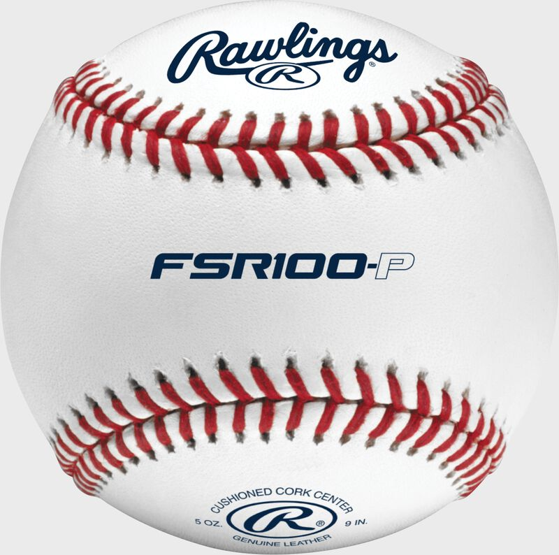 A Rawlings flat seam practice baseball with FSR100-P across the middle and Rawlings logo on top - SKU: FSR100-P