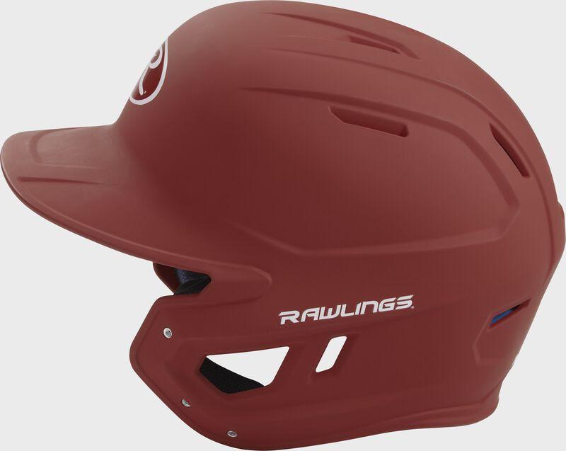 MACH Rawlings batting helmet with a one-tone matte cardinal shell