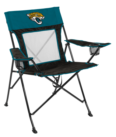 Front of Rawlings Teal and Black NFL Jacksonville Jaguars Game Changer Chair With Team Logo SKU #00651091111