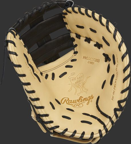 Camel palm of a Rawlings HOH ColorSync 5.0 1st base mitt with a black web and black laces - SKU: PRODCTCBGSS