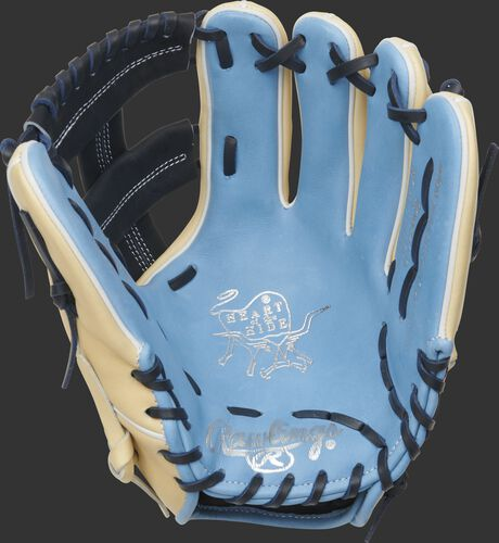 Columbia blue palm of a 2021 Rawlings HOH infield glove with a navy web and laces - SKU: PRO204-20CB