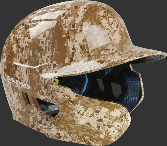 Front right of a MACHEXTL-DCMO Mach EXT digi camo hydro dipped helmet with a MEXT attached for a left-handed batter