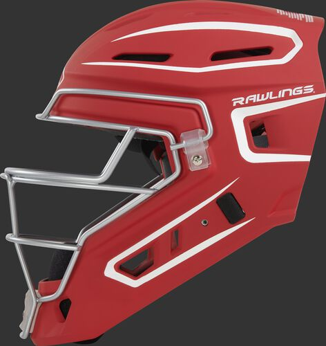Left side of a scarlet CHV27J Rawlings hockey style Velo 2.0 catcher's helmet