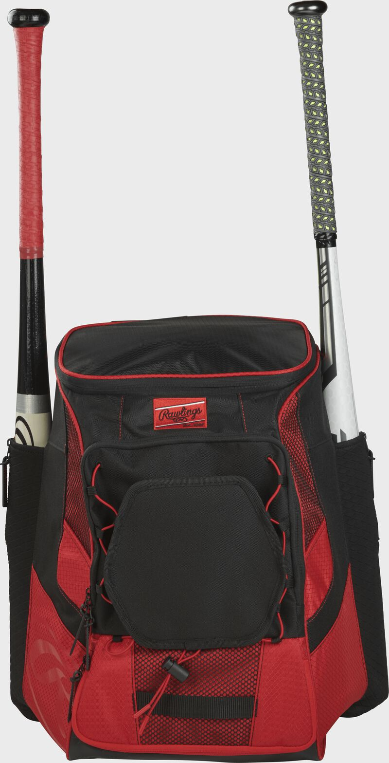 Front of a scarlet/black R600 Rawlings players team backpack with a bat in each of the side compartments
