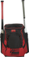Front of a scarlet/black R600 Rawlings players team backpack with a bat in each of the side compartments image number null
